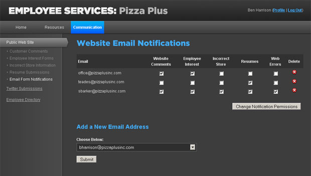 Pizza Plus Private Employee Site